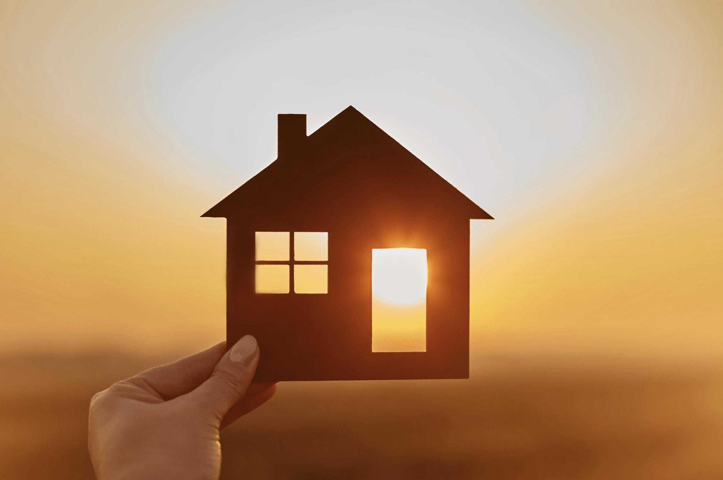 Cutout of house facing sun