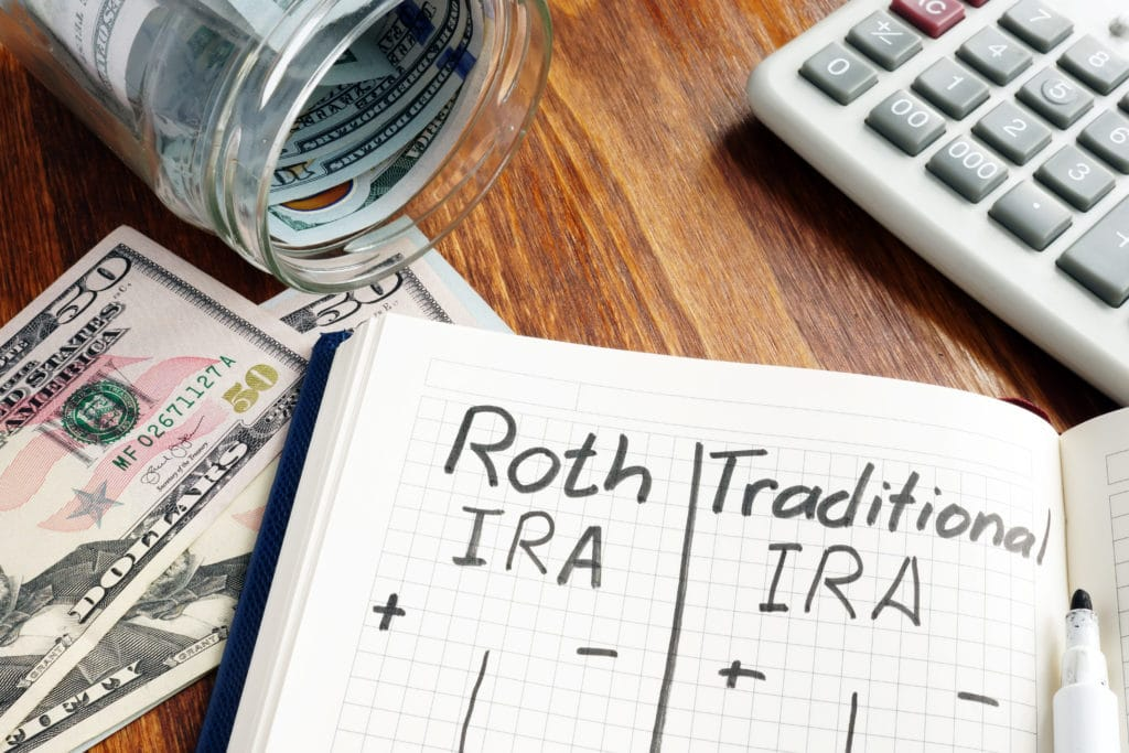 Image of desk with notebook saying Roth IRA or Traditional IRA